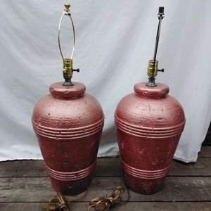 Lot #96-M:  Rose Gold Ceramic Lamp Pair
