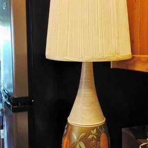 Lot #97-M:  MCM Painted Art Design Lamp