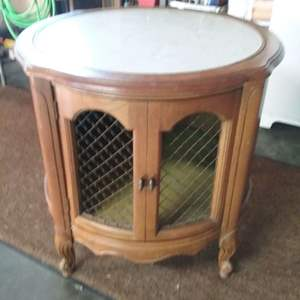 Lot #102-KL:  Vintage Round Storage Side Table Cabinet with Marble Top