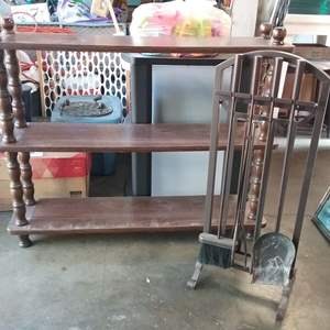 Lot #106-KL:  Colonial Book or Nik Nak Shelf 3 Tier and Fireplace Tools
