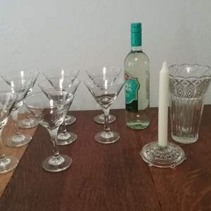 Lot #112-KL:  Beautiful Blown Glass Cocktails by Candlelight