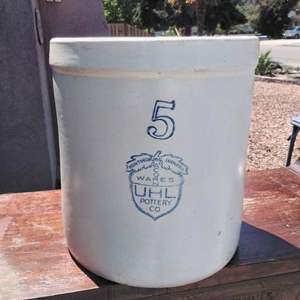 Lot #137-D:  ULH Pottery Acorn Ware No. 5 Crock