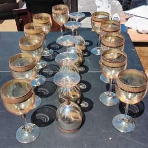 Lot #140-D:  Lot of 16 Vintage Italy Cristal Mode Wine Glasses