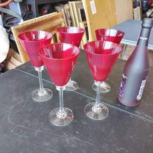 "Lot #142-D:  Pier1 Red 9"" Cocktail Wine Glasses"