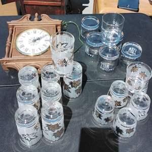 Lot #145-D  Vintage Barware Glasses Gold Leaf (Possibly more DUZ Promos) Glasses & Clock Jacobs Well