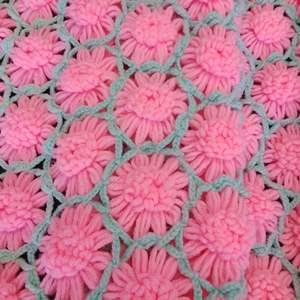 "Lot 175-D:  Pink Flower Afghan 84"" x 84"""