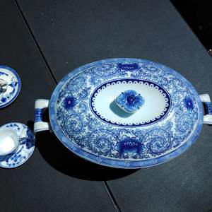 Lot 195-D:  Large Blue and White China Compote Serving Dish