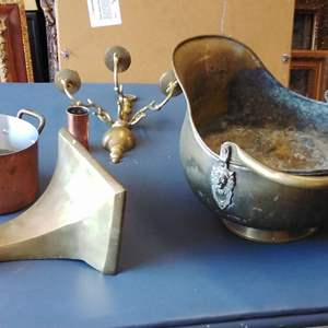 Lot 198-D:  Copper Ash Pail and Heavy Brass Shelf