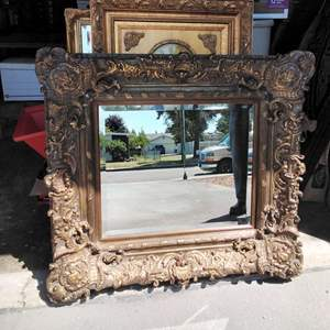 Lot 214-D:  Mirror 38x35 Beveled w Thick Frame