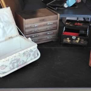 Lot 231-D:  Jewelry Box and Wood Box Lot