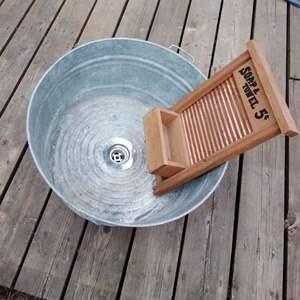 Lot #277 - Galvanized Wash Tub w Drain and Wash Board Decor