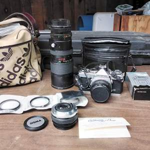 Lot #281-D:  Olympus Camera and Accessories in Adidas Bag