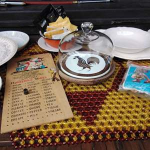 Lot #282 - Misc. Vintage Kitchen Items with Beaded Doily and Corelle Plates
