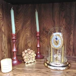Lot # 288 - Anniversary Clock, Candlesticks and Firewood Look Drink Coasters