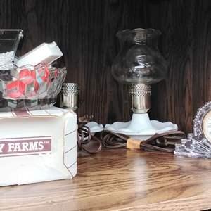 Lot # 289 - One Lamp Broke ~ So 1 bedside lamp, Beads, & Crysta.