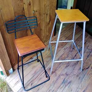 Lot 290 - Two Vintage Industrial Sturdy Stools with Wood Tops