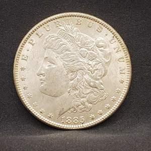 Lot 1 - 1885 AU+ Morgan Silver Dollar