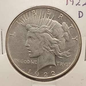 Lot 5 - 1922-D AU Peace Silver Dollar