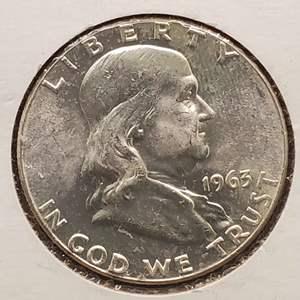 Lot 13 - 1963 MS 64+ HIGH GRADE Silver Franklin Half Dollar