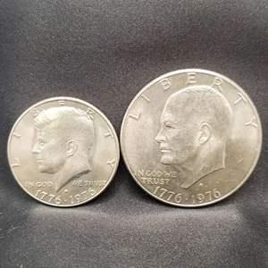 Lot 16 - 1776-1976-D Bicentennial UNC Kennedy Half Dollar and Eisenhower Dollar