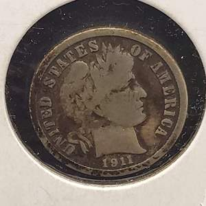 "Lot 21 - 1911 Silver Liberty Head ""Barber"" Dime"