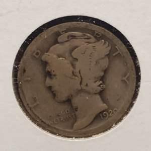 "Lot 22 - 1920 Silver Winged Liberty Head ""Mercury"" Dime"
