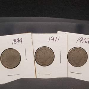 """Lot 28 - Three Liberty Head """"V"""" Nickels, 1899, 1911, 1912-D"""
