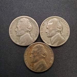 Lot 32 - Three WWII Era Silver Jefferson Nickels