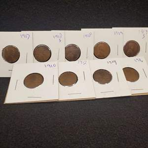 Lot 38 - Nine Lincoln Wheat Cents 1910-1919S, no duplicates