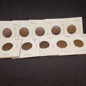 Lot 39 -Ten Lincoln Wheat Cents 1920-1929, no duplicates
