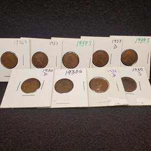 Lot 40 - Nine Lincoln Wheat Cents 1930-D-1939S, no duplicates