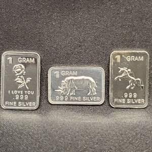 Lot 54 - Three 1 troy gram .999 Fine Silver Bars, I Love You, Rhino, Unicorn