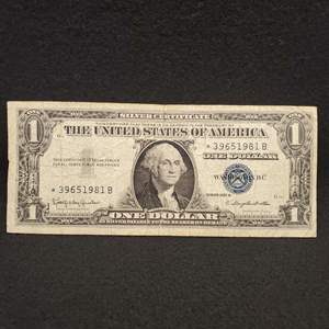 Lot 55 - 1957B One Dollar United States Silver Certificate Currency Note, Blue Seal
