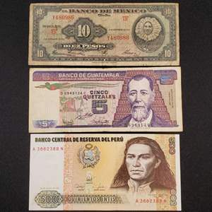 Lot 64 - Three Vintage Currency Notes from Peru, Guatemala and Mexico