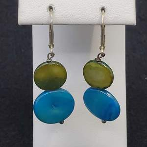 Lot 82 - Sterling Silver Lever Back Dyed Mother of Pearl Blue and Green Dangle Earrings