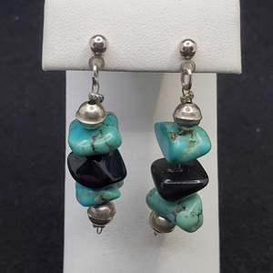 Lot 84 - Turquoise Dangle Sterling Silver Earrings