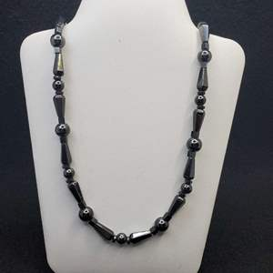 """Lot 86 - Hematite Bead Necklace with Magnetic Closure, 20"""""""