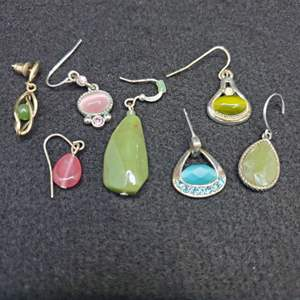 Lot 89 - Assorted Stone Single Dangle Earrings
