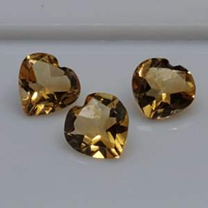 Lot 92 - 1.58ctw Genuine Citrine Heart Faceted Cut Gemstones for Jewelry Making