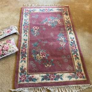 """Lot # 3- Rose Colored Wool Rug 42"""" x 66"""", Two Accent Pillows."""