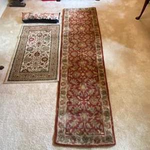 "Lot # 4- Wool Runner Rug 25x94"", Polypropylene Accent Rug 30x48"", Cat Tapestry Pillow 28""."