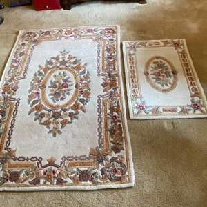 Lot # 5- Rugs Fresh from the Cleaners in Plastic Bags, Two Ivory with Roses. Size in pic.