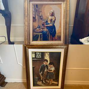 Lot # 7- Vintage Framed Needlepoint, Framed Children Canvas Transfer. Size in pics.