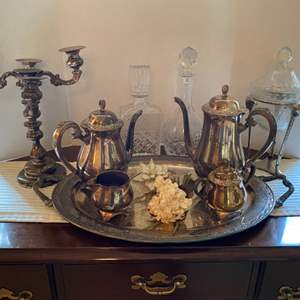 Lot # 9- Beautiful Collection of Vintage Oneida Silverplate, Lenox Flower, Crystal Decanters.