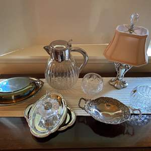 Lot # 11- Silver Plate Collectibles, Lamp, Polish and Orrefors Swedish Crystal