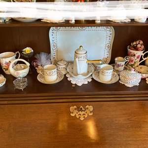 Lot # 14- Royal Limoge Trianon Tea Set and Plate, Bavarian, Hungary, English Porcelain Collectibles, Lenox.