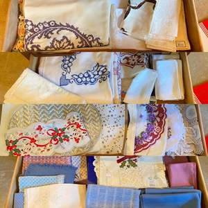 Lot # 15- Four Full Drawers of Vintage Linens: Table Cloths, Napkins, Placemats.