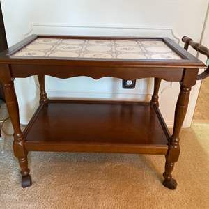 Lot # 17- Vintage Wood Cart with Tile Top, Casters.