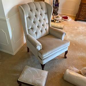 Lot # 19-  Fabulous Cream Velour Wingback Chair with Foot Stool.