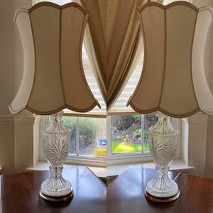 Lot # 22- Two Matching Crystal Cut Lamps with Shades.